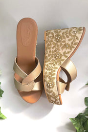 Soft Faux Leather Wedges in Cream and Gold