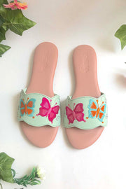 Soft Faux Leather Flats in Sea Green and Pink