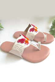 Soft Faux Leather Kolhapuri Flats in White and Pink
