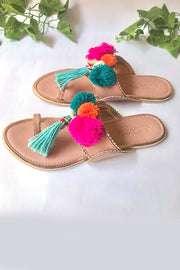 Soft Faux Leather Kolhapuri Flats in Pink and Turquoise