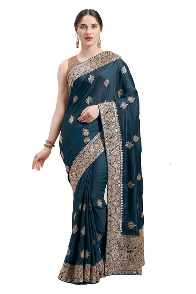 Satin Silk Embroidered Saree in Teal