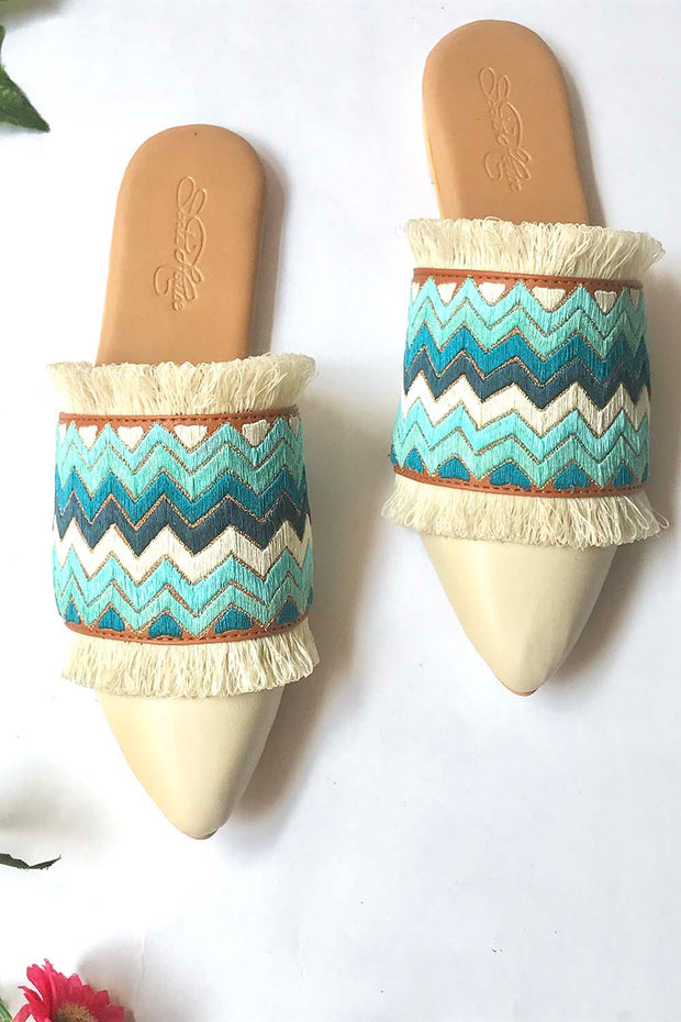 Soft Faux Leather Pointed Flats in Cream and Turquoise