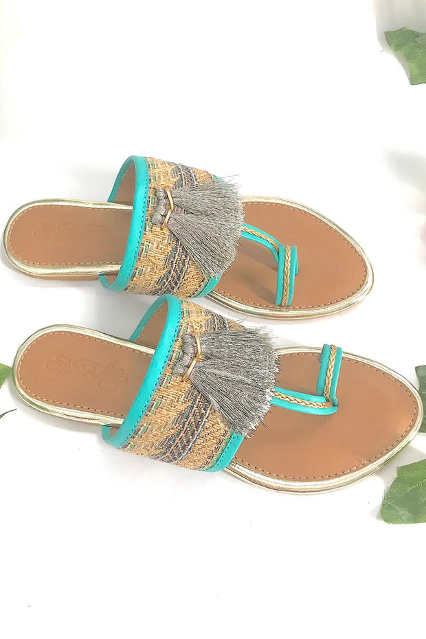 Soft Faux Leather Kolhapuri Flats in Turquoise and Grey
