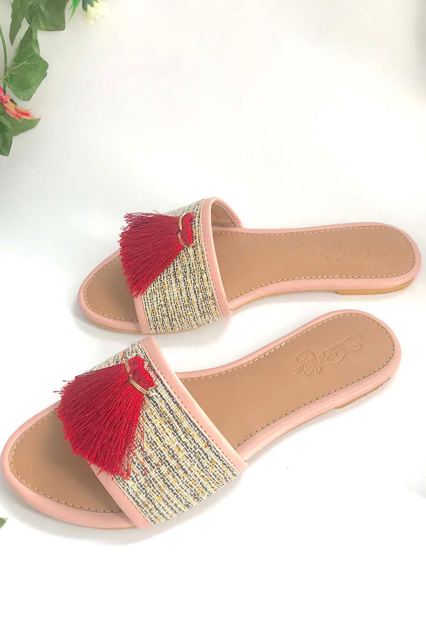 Soft Faux Leather Flats in Baby Pink and Maroon