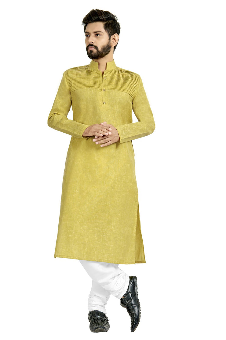 Buy Men's Blended Cotton Pleated Kurta Set In Light Yellow