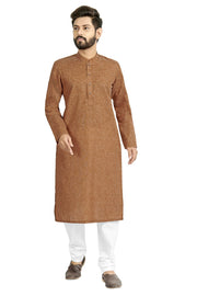 Buy Men's Blended Cotton Solid Kurta Set In Light Brown