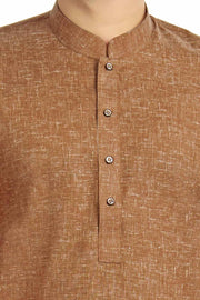 Brown Kurta With  White Churidar