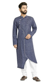 Buy Men's Blended Cotton Solid Kurta Set In Blue