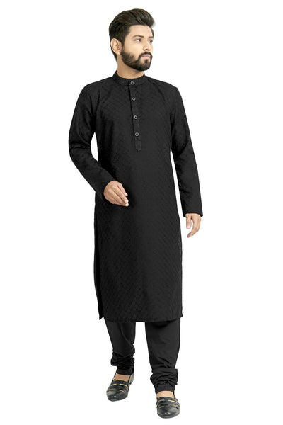 Buy Men's Blended Cotton Woven Kurta Set In Black