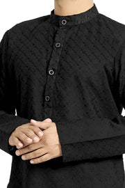 Buy Woven Black Kurta Set For Men