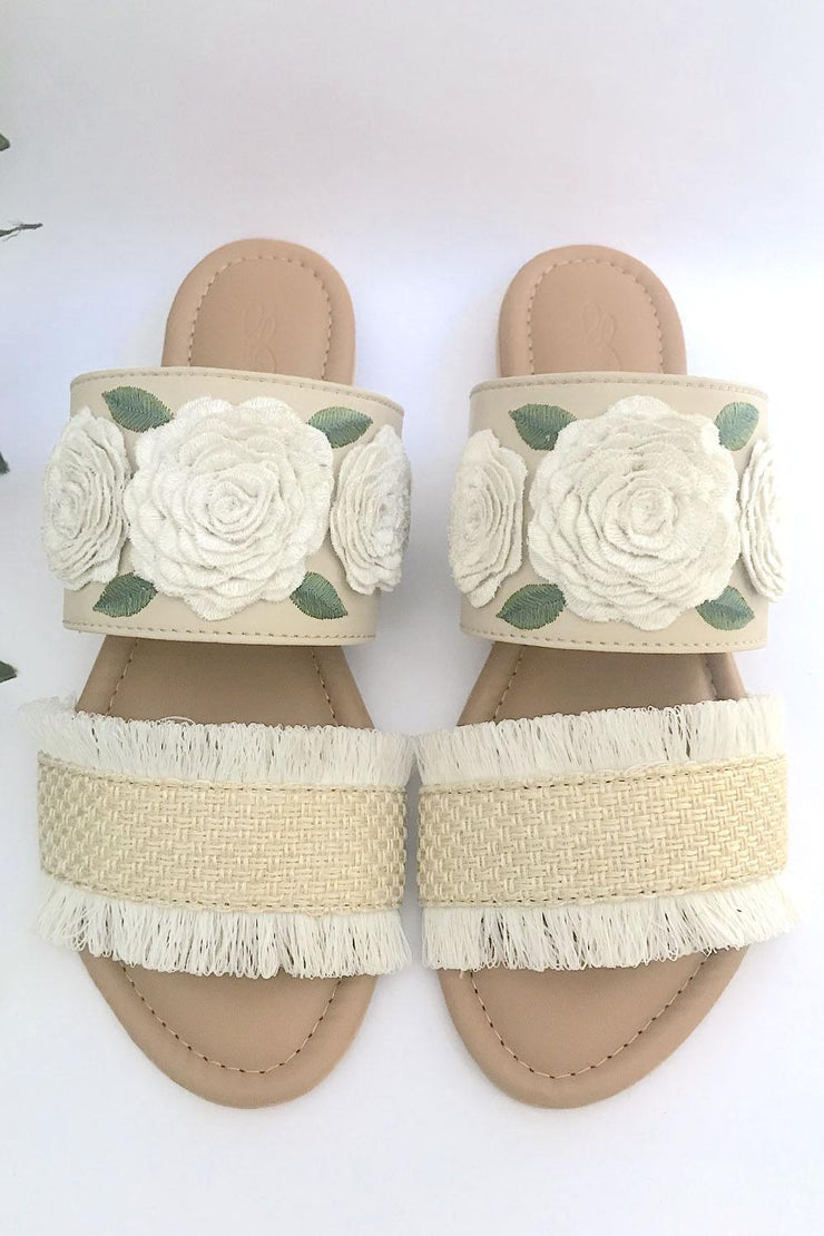 Buy Soft Faux Leather Flats In Cream And Green