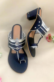 Buy Soft Faux Leather Block Heel In Navy Blue And Silver