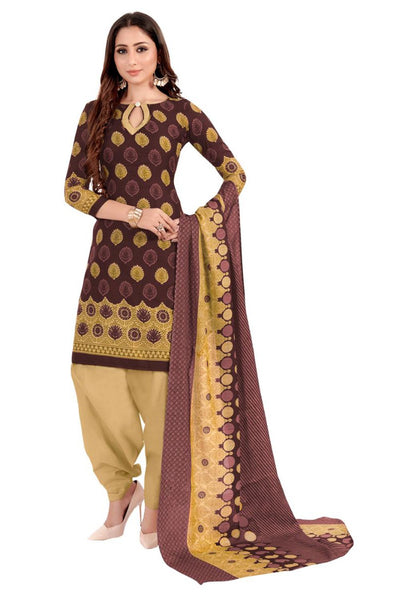 Buy Blended Cotton Printed Dress Material In Brown