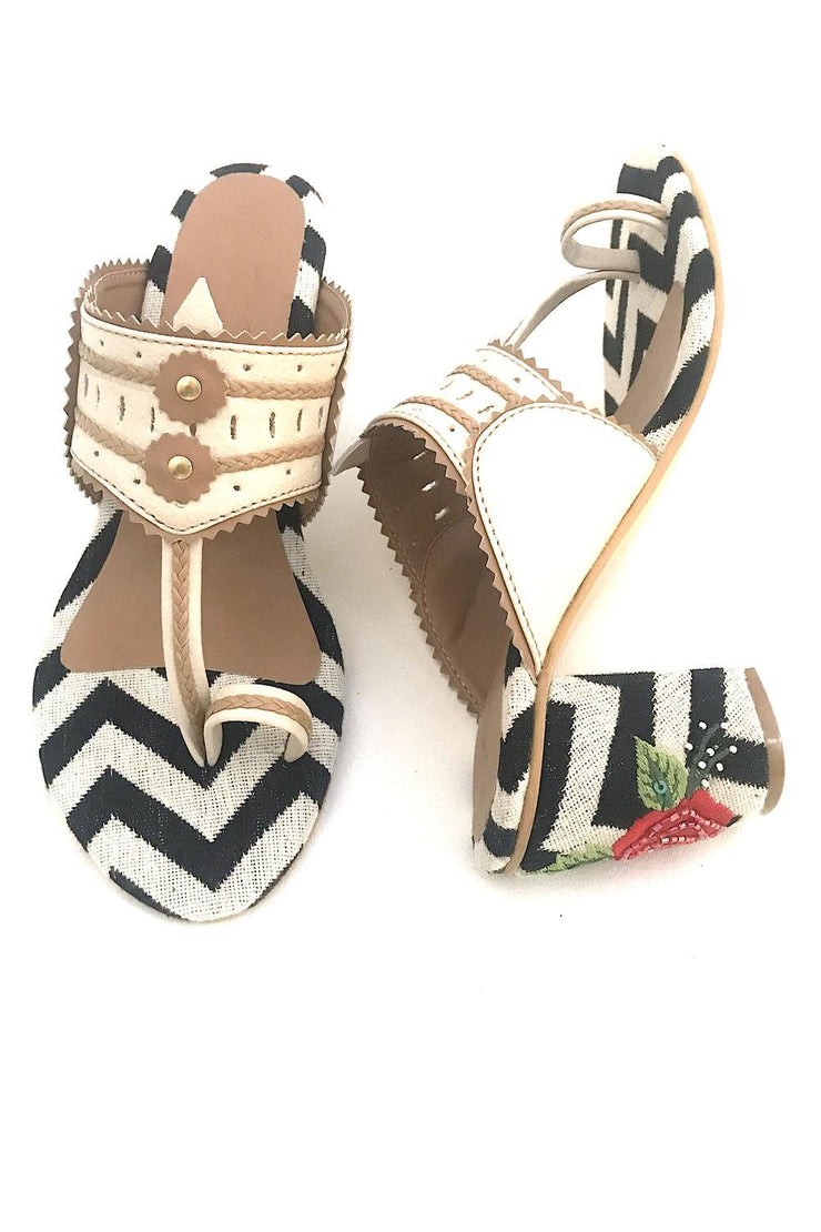 Buy Soft Faux Leather Block Heel In Black And Cream