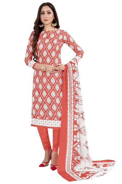 Buy Blended Cotton Printed Dress Material In Peach