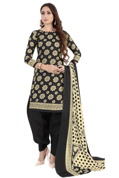 Buy Blended Cotton Printed Dress Material In Black
