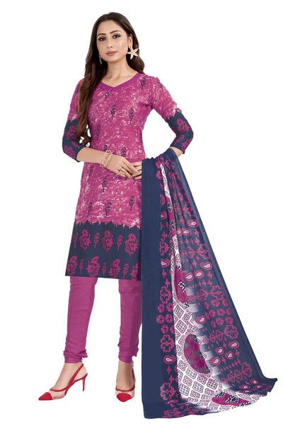 Buy Blended Cotton Printed Dress Material In Pink