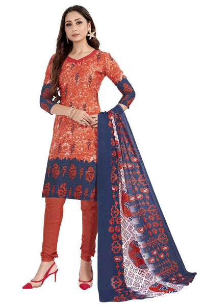 Buy Blended Cotton Printed Dress Material In Red
