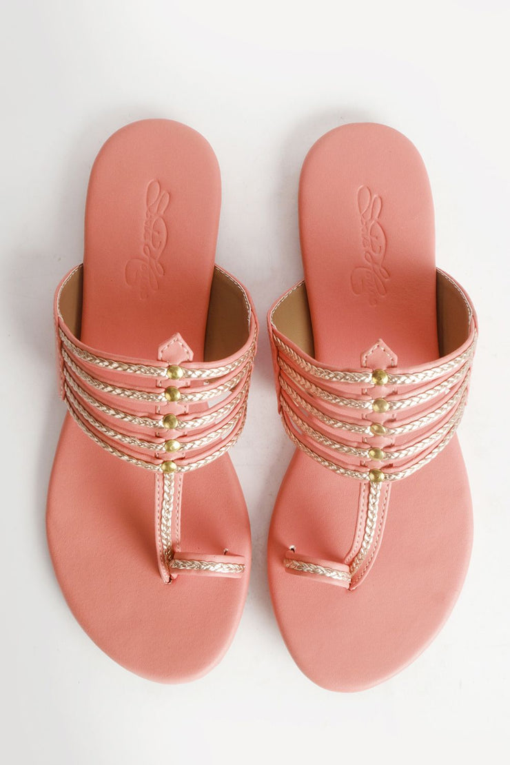 Buy Soft Faux Leather Kolapuri Flats In Peach And Gold