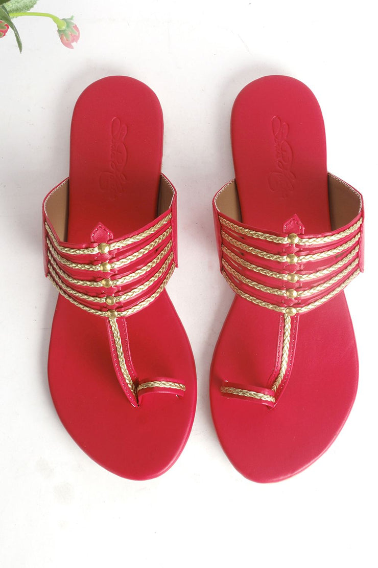 Buy Soft Faux Leather Kolapuri Flats In Red And Gold