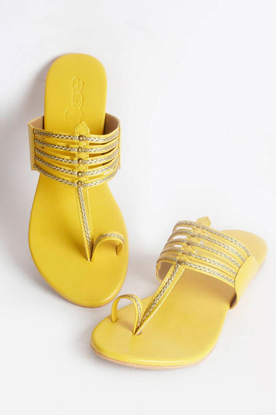 Buy Soft Faux Leather Kolapuri Flats in Yellow