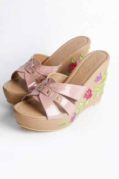 Buy Soft Faux Leather Wedges in Beige