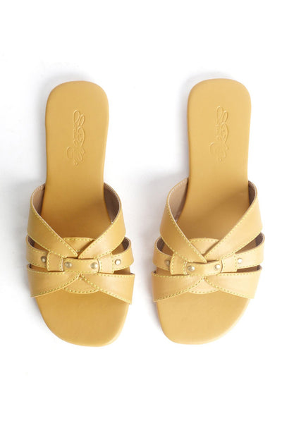 Buy Soft Faux Leather Flats in Mustard