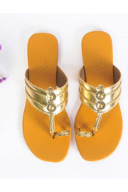Buy Soft Faux Leather Flats in Gold