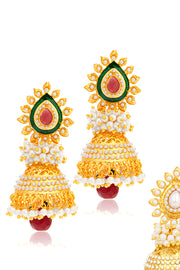 Women Alloy Combo Jhumka Earrings in Gold