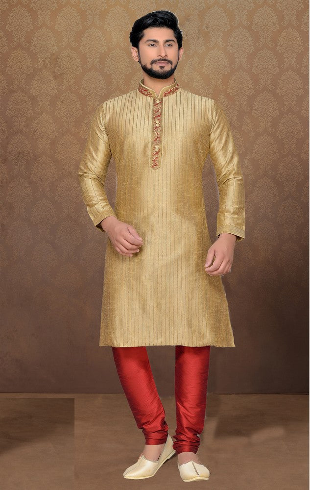 Men's Dhupion and Art Silk kurta Set in Beige and Gold