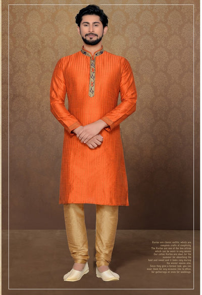 Atool Women's Jacquard and Silk kurta Set in Orange