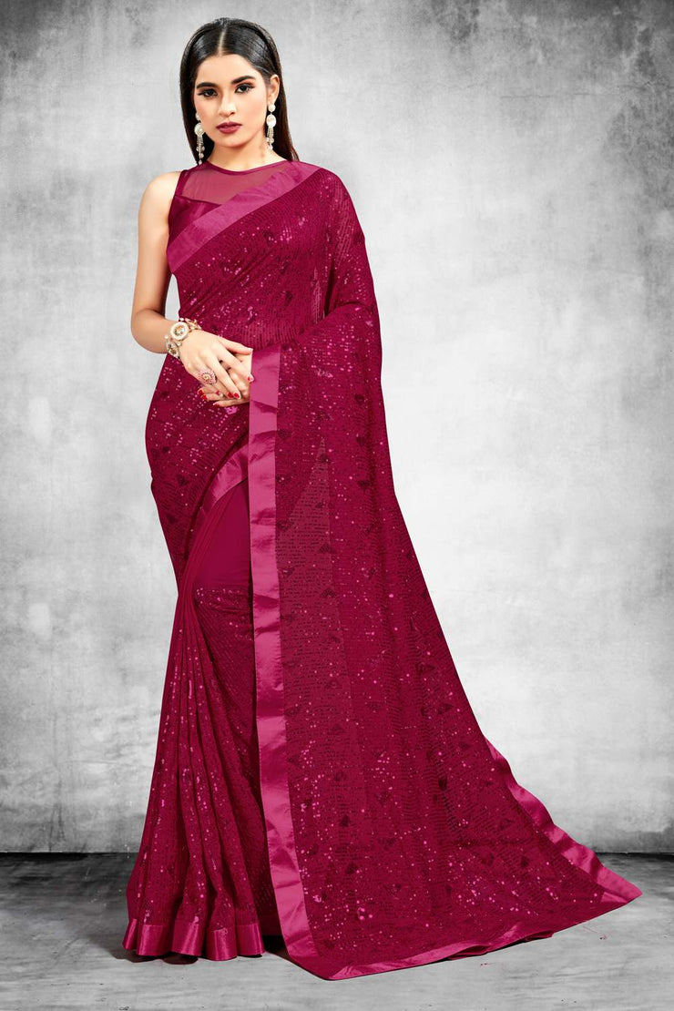 Buy Bamber Georgette Sequence Work Saree in Maroon