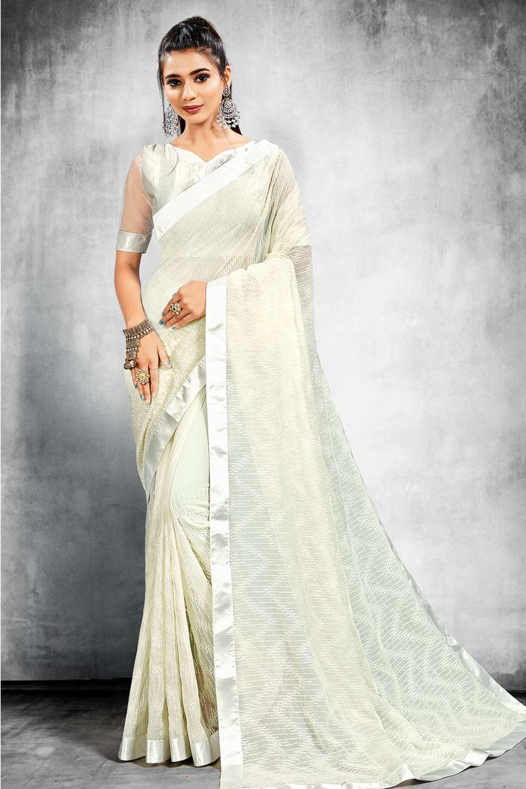 Buy Bamber Georgette Sequence Work Saree in White