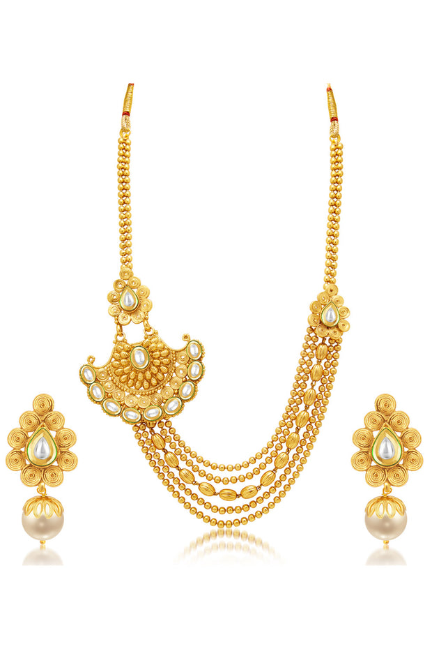 Alloy Gold Plating Necklace and Earrings Set in Gold
