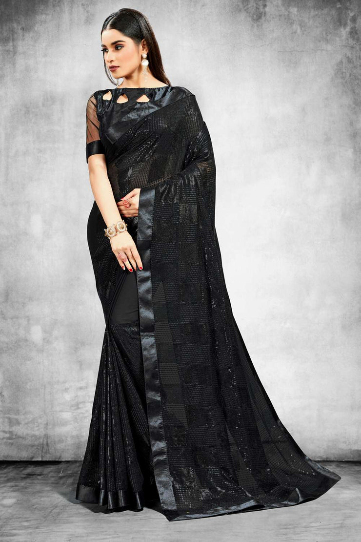 Buy Bamber Georgette Sequence Work Saree in Black