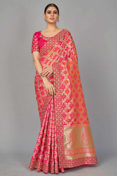 Blended Silk Woven Saree in Pink