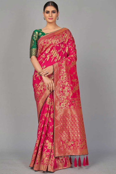 Blended Silk Woven Saree in Magenta