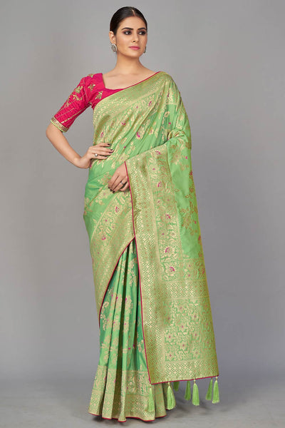 Blended Silk Woven Saree in Green