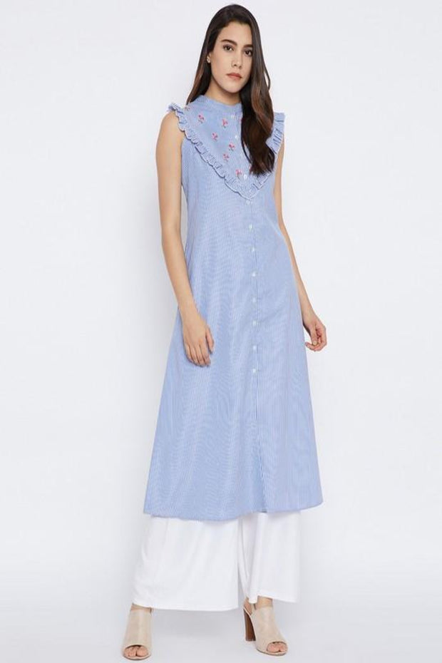 Bitterlime Women's Cotton A-Line Kurta in Blue