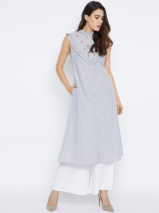Cotton A-Line Kurta in Grey