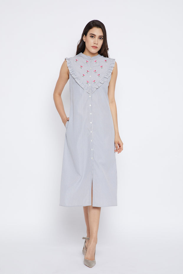 Bitterlime Women's Cotton A-Line Kurta in Grey