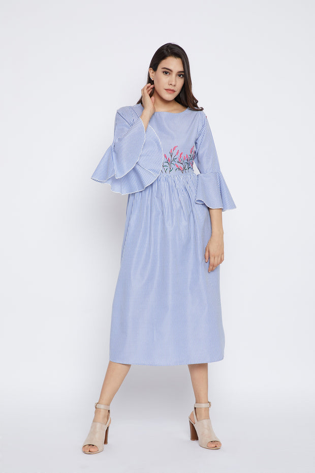 Bitterlime Cotton A-Line Kurta in Blue
