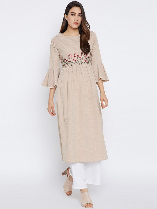 Cotton A-Line Kurta in Rust
