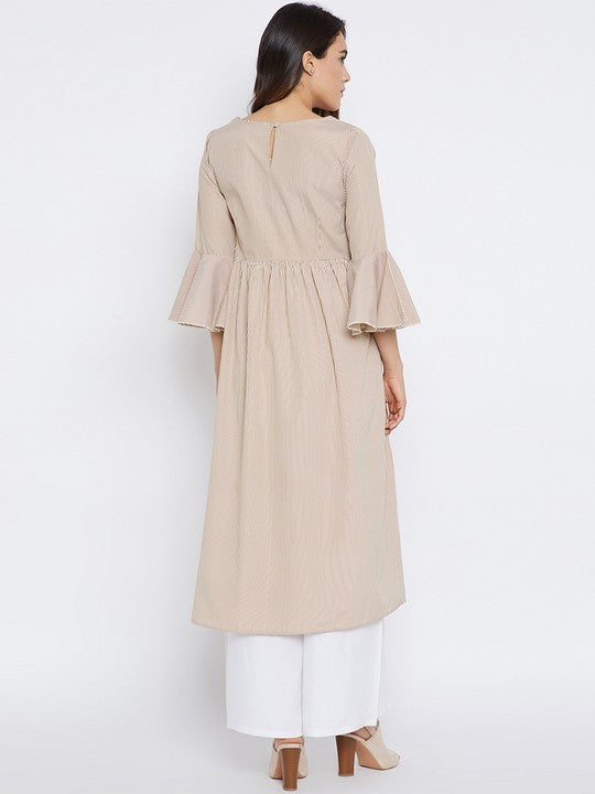 Bitterlime Women's Cotton A-Line Kurta in Rust