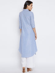 Bitterlime Women's Cotton Straight Kurta in Blue