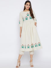 Bitterlime Cotton Kurta Set in Off White