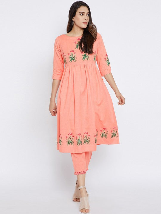 Bitterlime Cotton Kurta Set in Peach