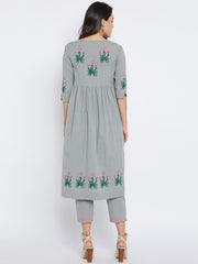 Cotton Kurta Set in Grey