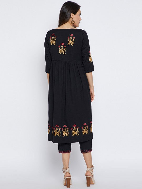 Bitterlime Women's Cotton Kurta Set in Black