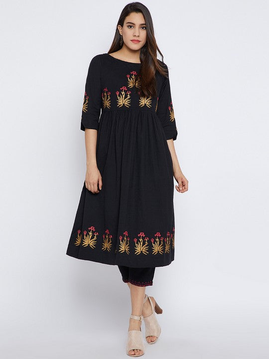 Bitterlime Cotton Kurta Set in Black